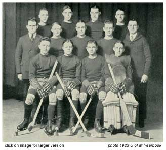 click to see larger version of 1922 gopher hockey team